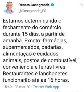 Governador Casagrande determina o fechamento do comércio em todo o ES 1